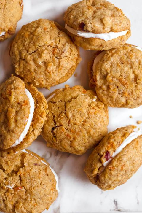 overhead view gluten free carrot cake cookie sandwiches