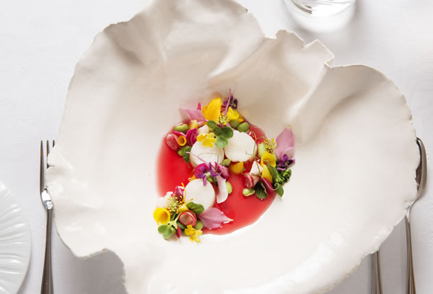 West Coast rock lobster with hibiscus consommé at 7.Restaurant Mosaic at The Orient.