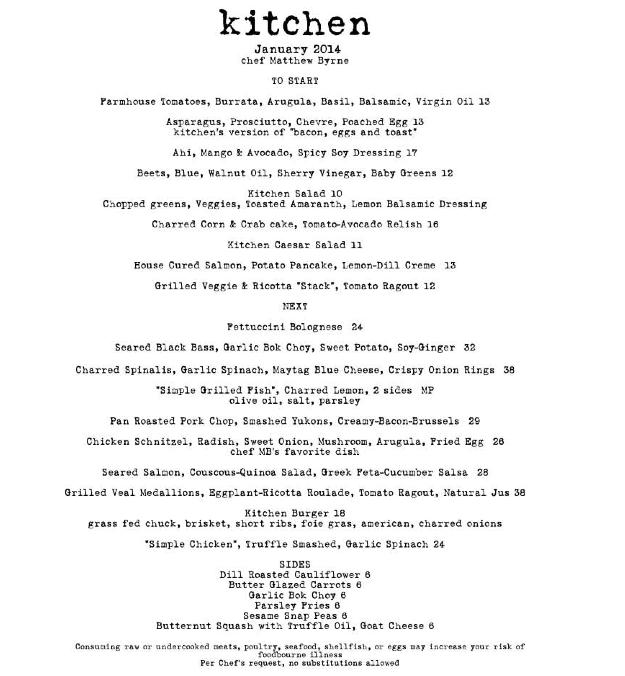 ktichen menu
