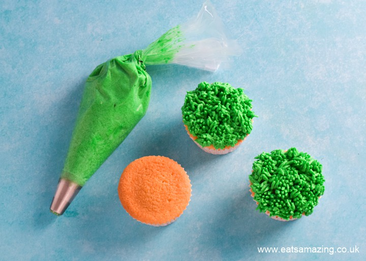 How to make easy Easter cupcakes - step 1 pipe buttercream grass on top of each cupcake