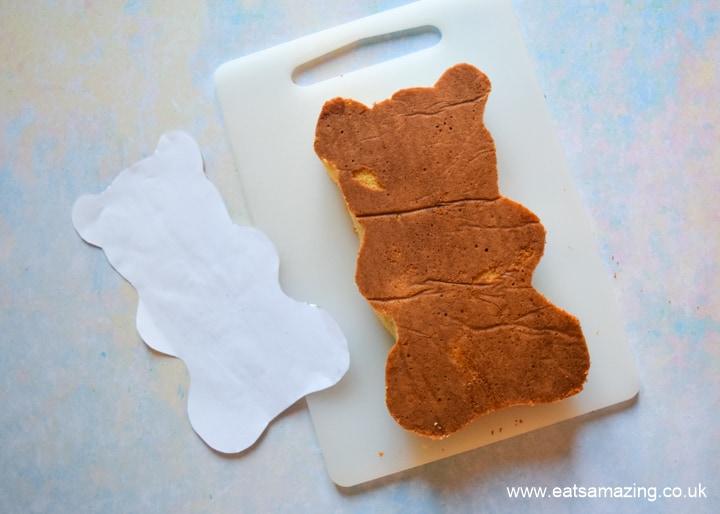 How to make a HARIBO Gummy Bear Cake - step 3 use template to cut cake to shape