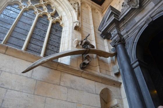 A dragon bone displayed outside Wawel Cathedral