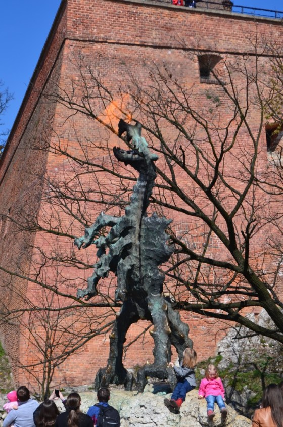 Fire breathing statue in memory of the legend of the Krakow Dragon