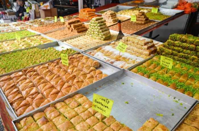trays of Baklava in Tel Aviv