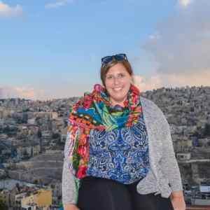 Smiling from the top of the Citadel in Amman, Jordan