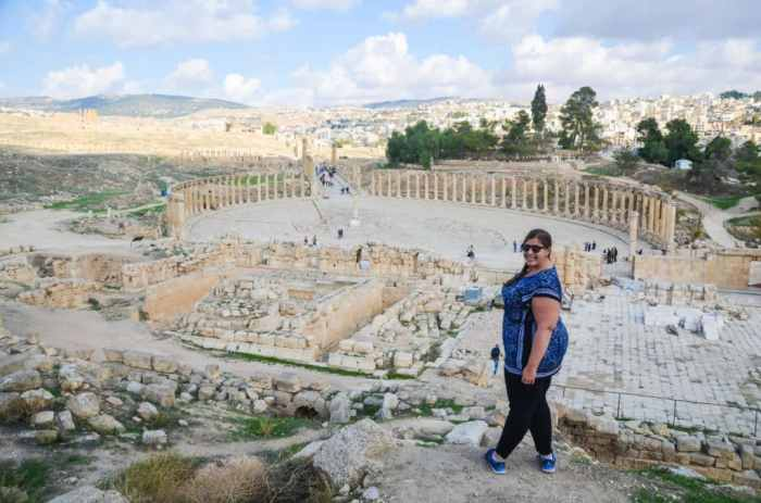 Looking out over the Roman ruins of Jerash, Jordan