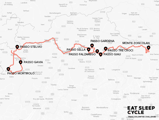 Map - Trans Dolomites Challenge Cycle Tour