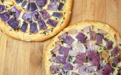 Schiacciata (with roasted red onions and Gruyere)