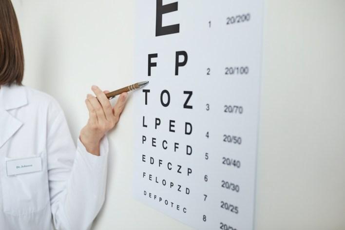 امراض چشم میں آنکھوں کی جانچ کے دوران لاطینی حروف کے ساتھ آنکھوں کے چارٹ کی طرف اشارہ کرنے والی خاتون کا ہاتھ بند کریں۔