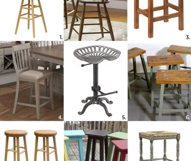 Vintage Farmhouse Wooden Bar Stools
