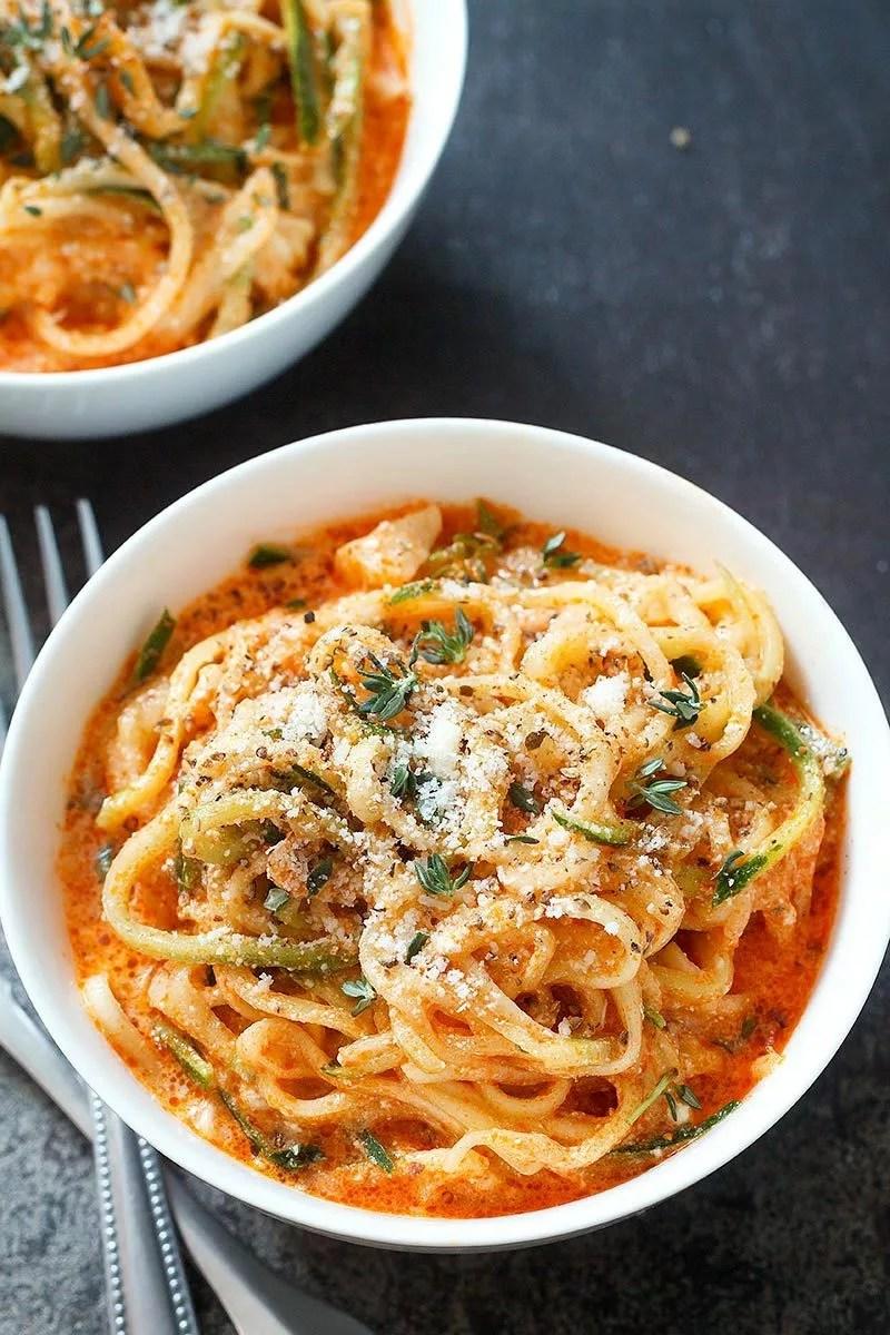 Zucchini Noodles In Creamy Tomato Sauce Recipe Eatwell101