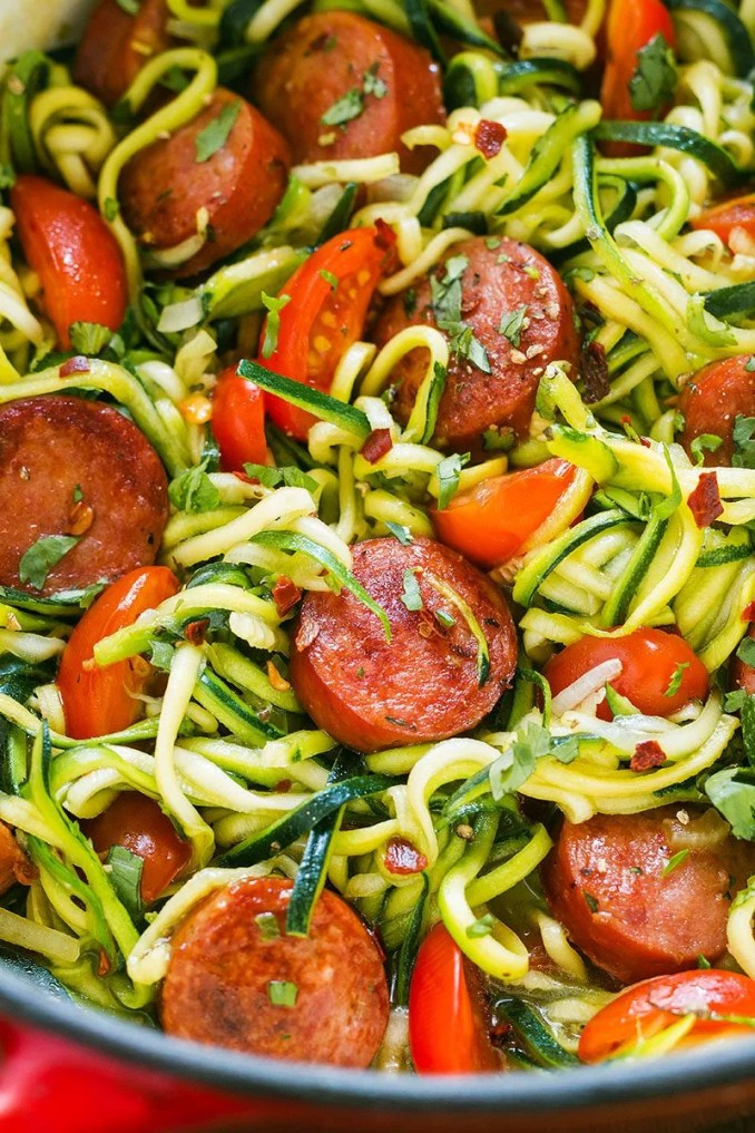 Smoked Sausage and Zucchini Noodles Recipe — Eatwell101