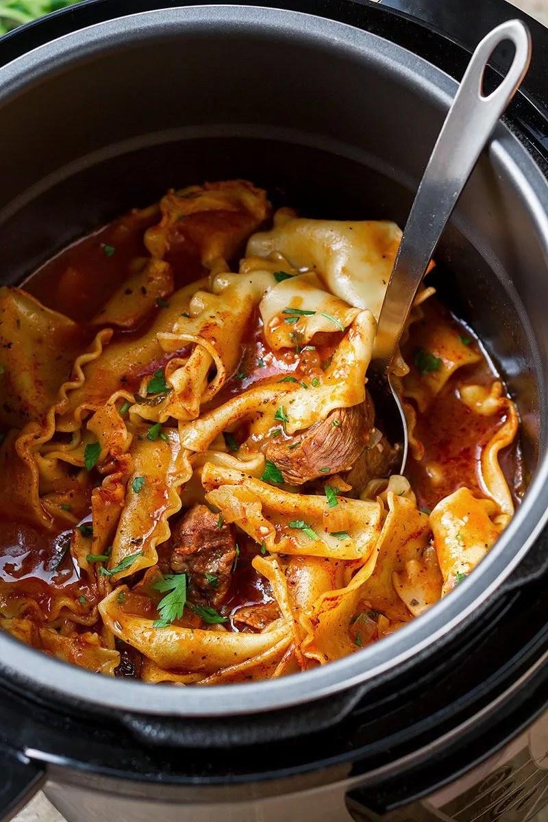 Instant Pot Beef Pasta Soup  Eatwell101
