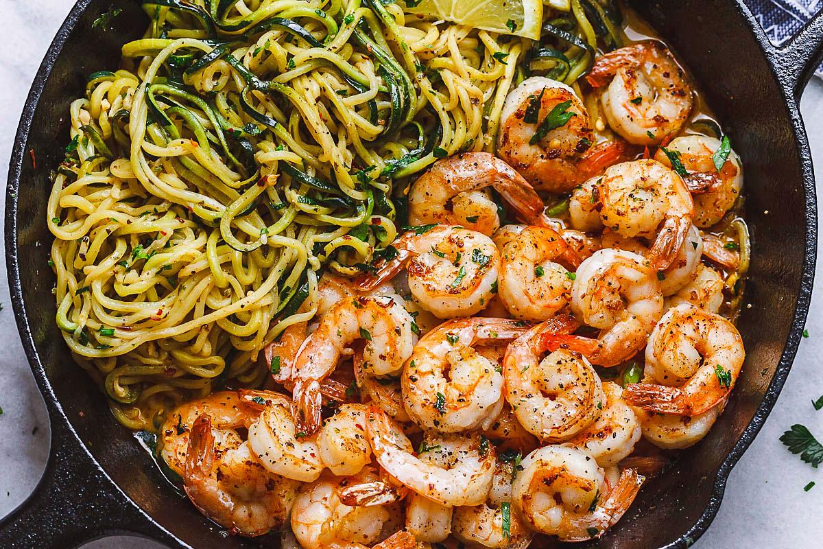 10 Minute Shrimp Zucchini Noodles With Lemon Garlic Butter