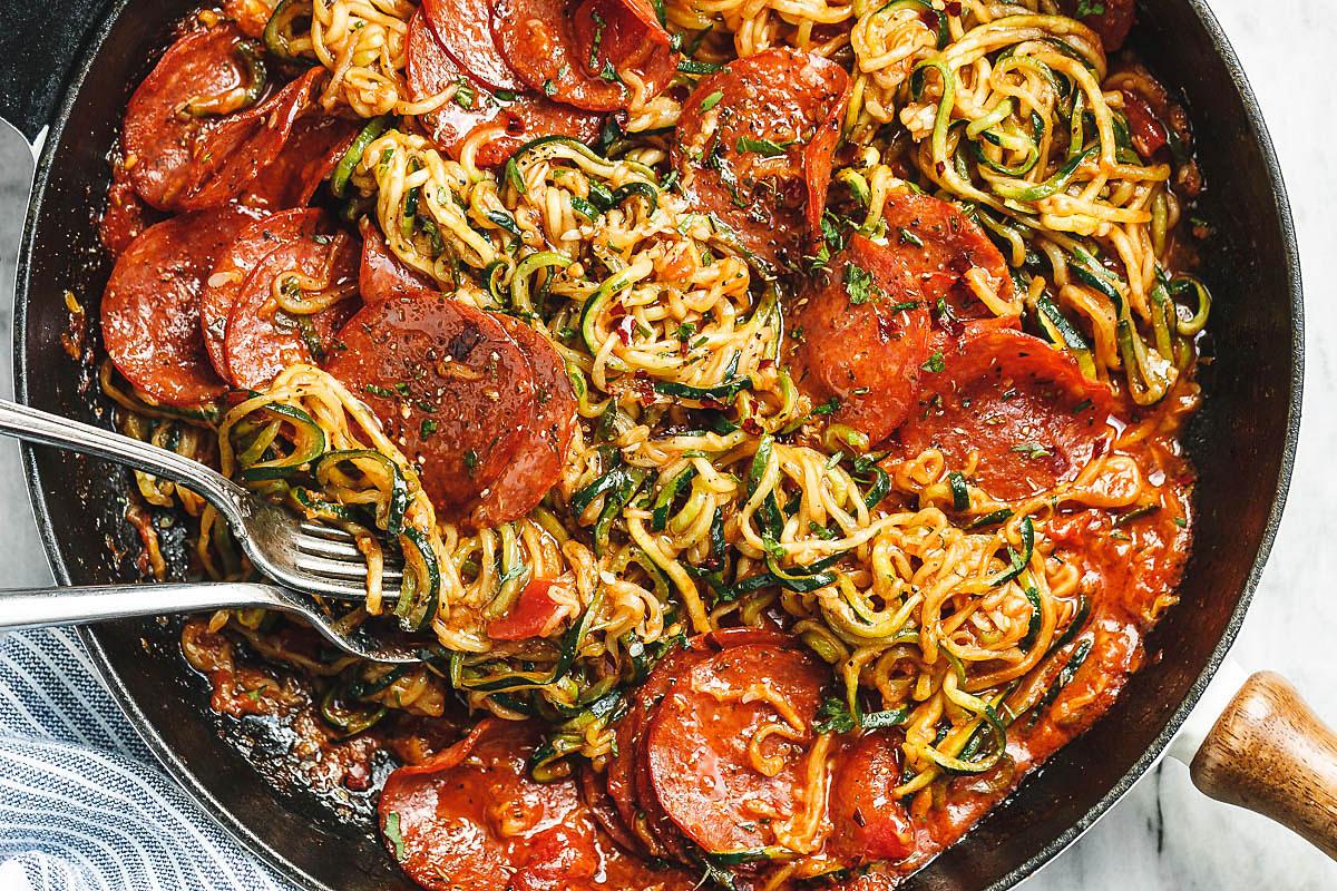 One Pot Pizza Zucchini Noodles