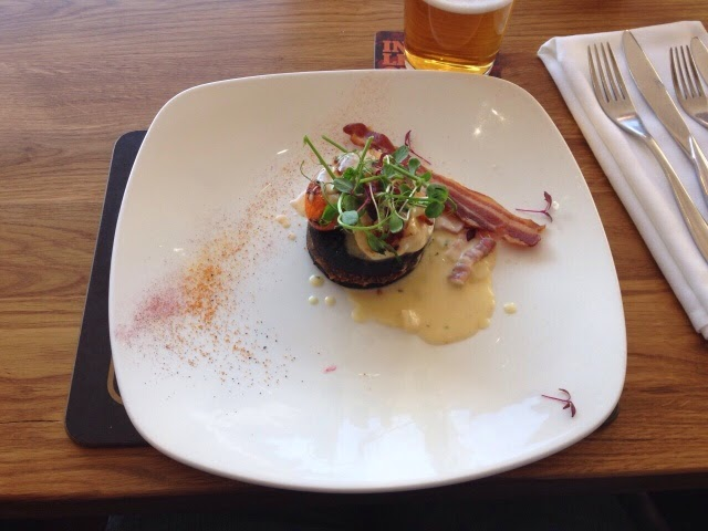 Black pudding, haggis and scallop starter at the Fisherman's Retreat, Lancashire