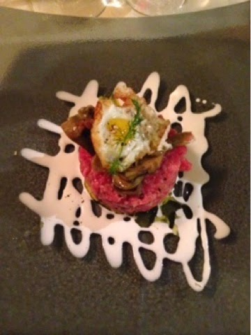 Steak tartare starter at L'Ortiche, Sauze d'Oulx