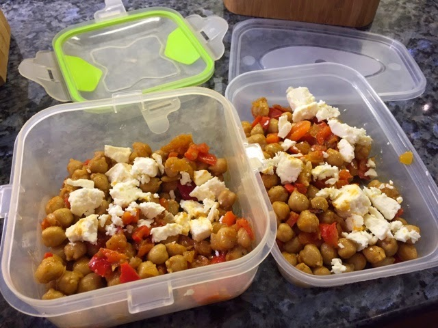 Chickpea and feta salad ready for work