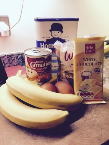 Ingredients for caramel, banana and white chocolate blondies
