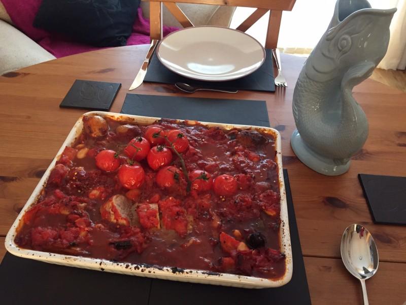 Homemade pork and vegetable bake