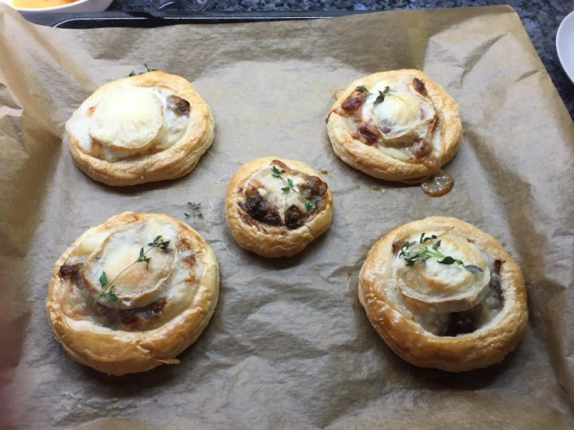 Caramelised onion and goats cheese tarts fresh out of the oven