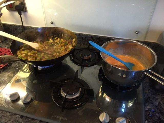 Making Menemen - frying onions and scrambling eggs