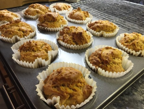 Low fat peanut butter and banana muffins