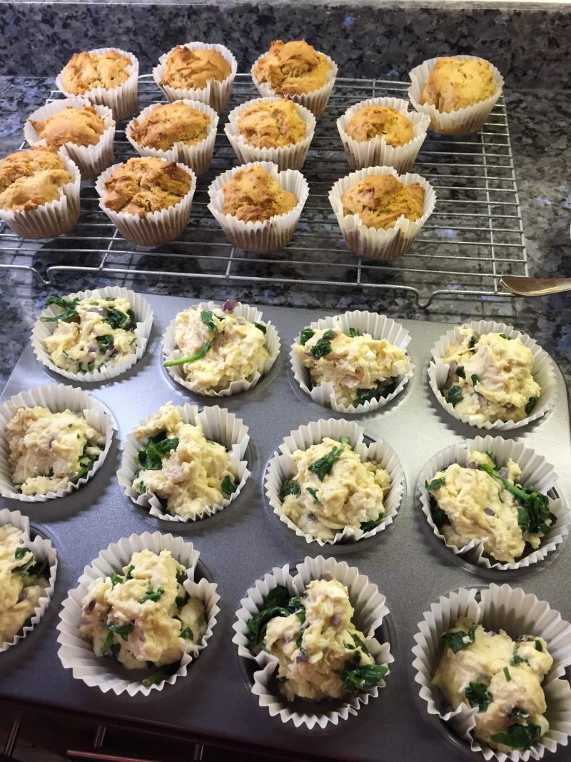 Baking muffins for the work Bake Off - low carb cheese and spinach muffins
