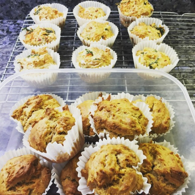 The finished product - healthy banana and peanut butter muffins, and low carb cheese and spinach muffins