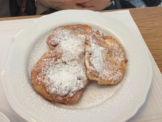 Polish apple pancakes in Krakow, Poland
