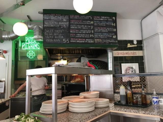 Inside Pizza Pilgrims in Soho