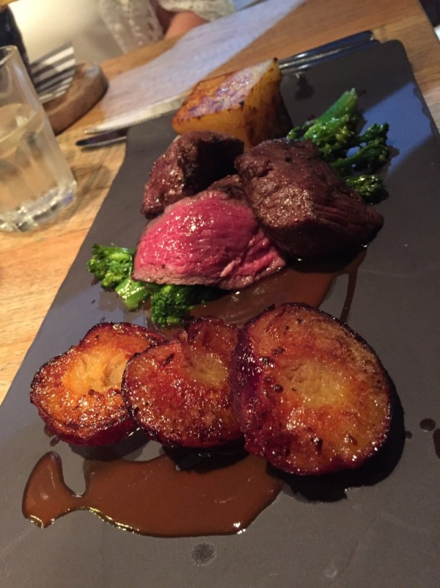 Venison main course at the King's Arms, Knowle