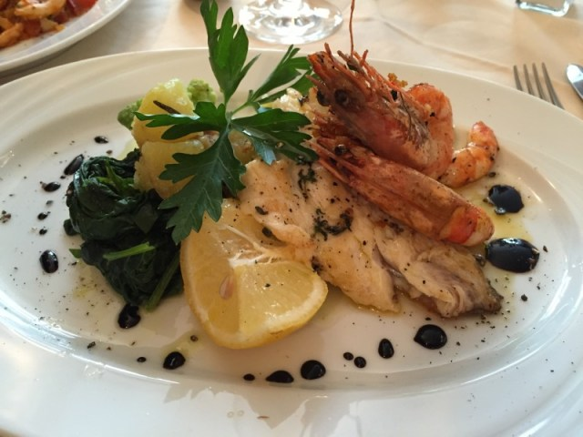 Sea bream and prawn main course at La Valle Trattoria, Munich