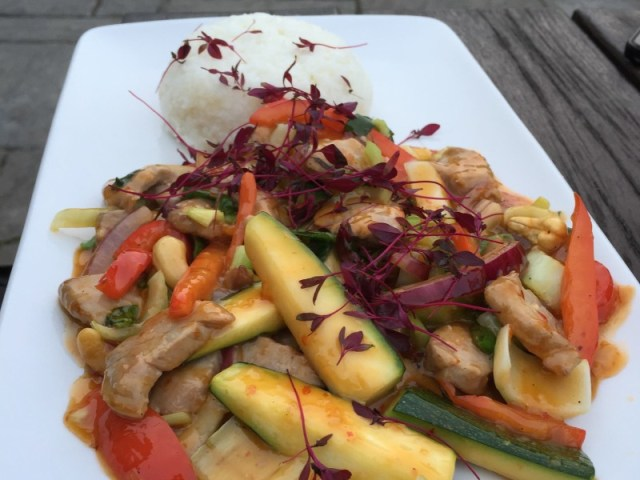 Soy and ginger stir fried shredded port fillet at the Polgooth Inn, Cornwall