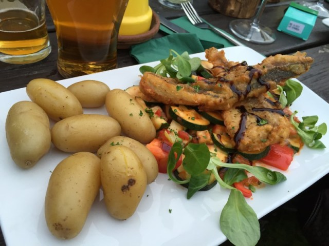 Battered sea bream special at the Polgooth Inn, Cornwall