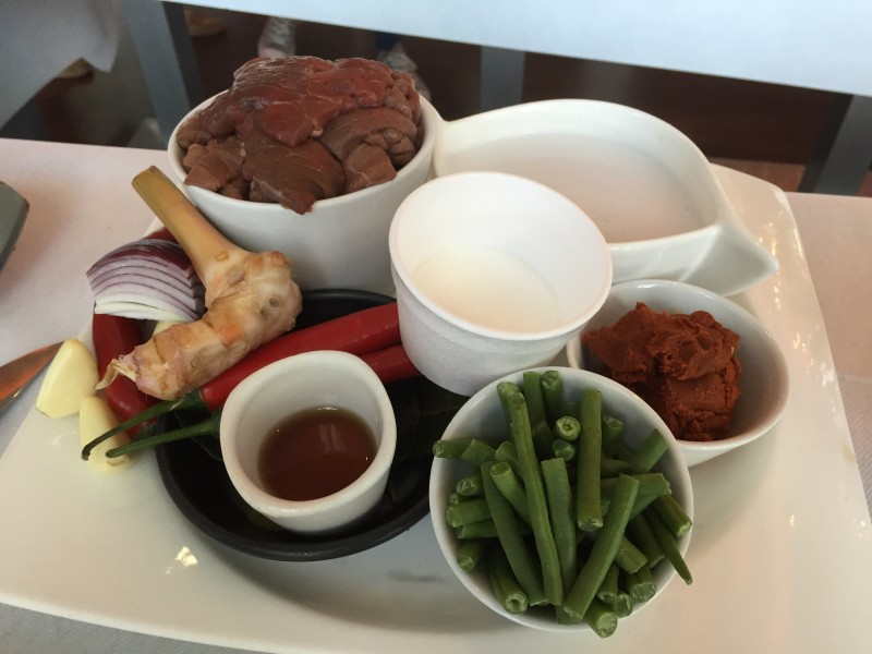 Ingredients for beef Panang curry at Birmingham Chaophraya's cooking class
