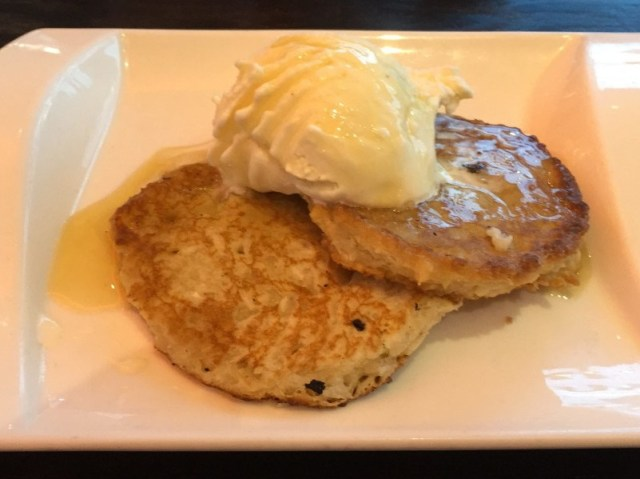 Thai coconut pancakes with vanilla ice-cream at Chaophraya, Birmingham