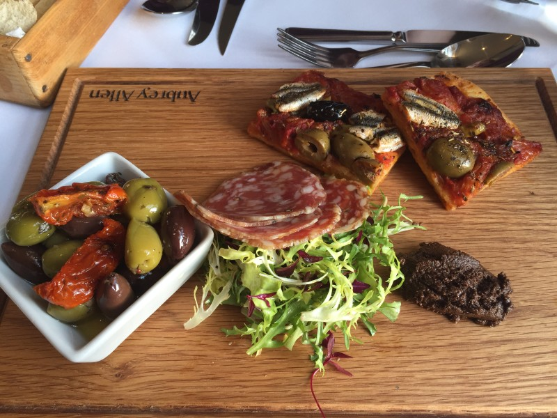 Pissaladiere, Provencal olives and saucisson at Oscars, Leamington Spa