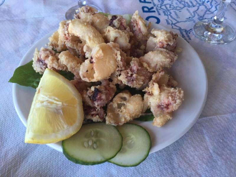 Calamari at Boukari Beach, Corfu