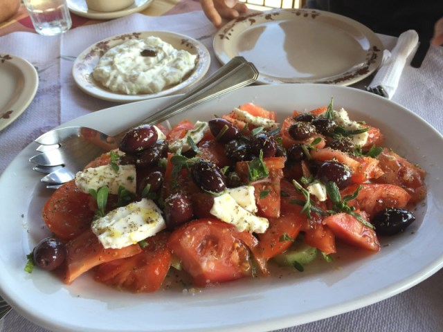 Greek salad at Bioporos, Corfu