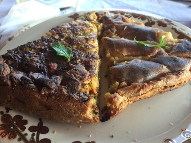 Greek cheese pie and Kolokithopita at Bioporos, Corfu