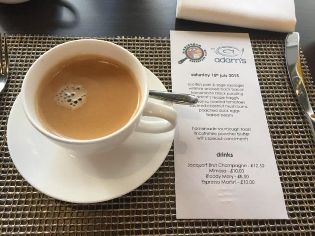 Perusing the menu for breakfast at Adam's, Birmingham