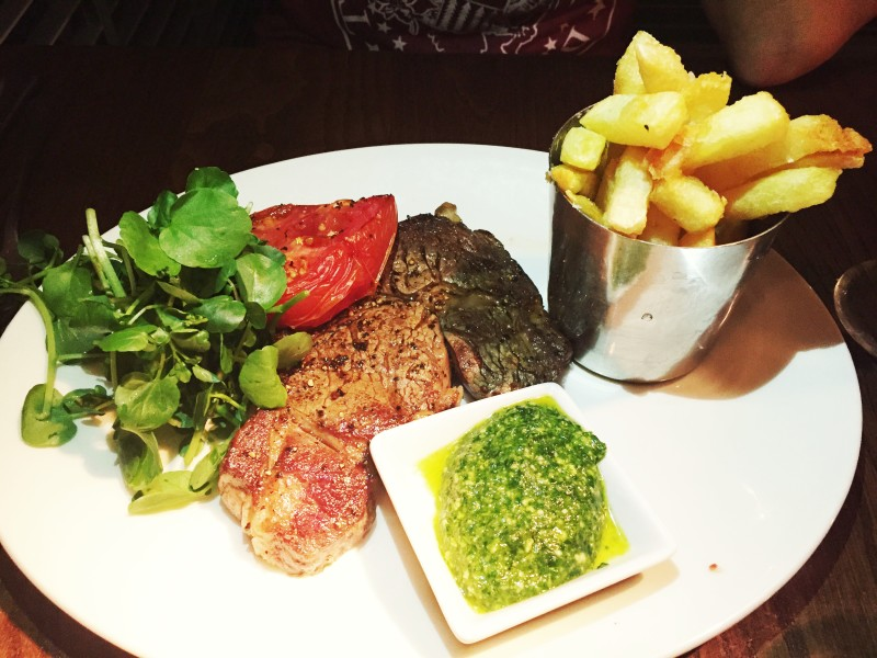 Rib-eye steak at the Stag at Offchurch