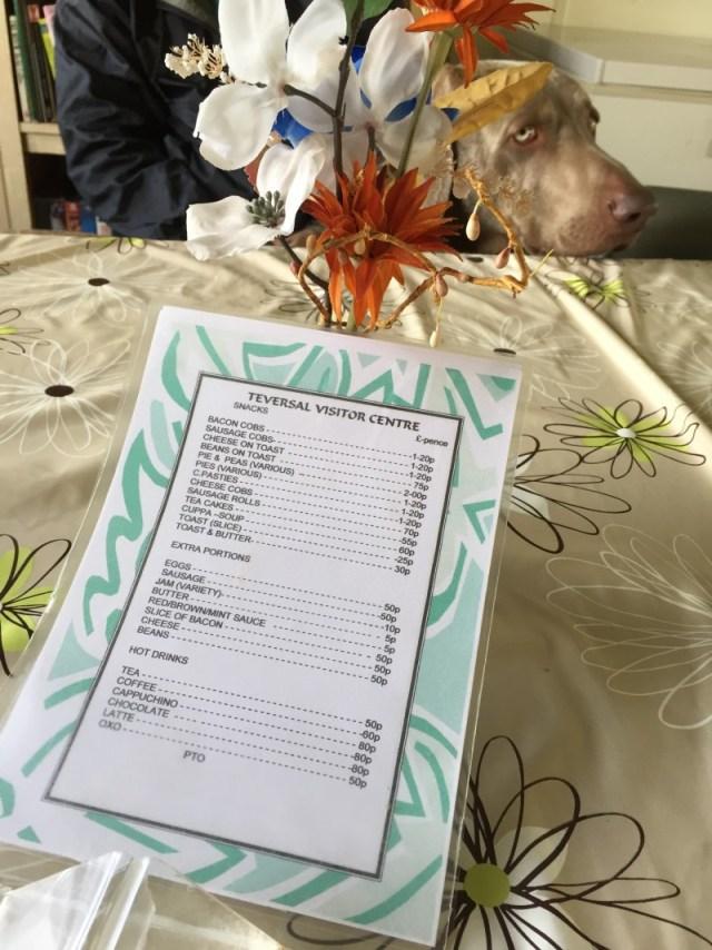 The menu at Teversal Visitor Centre