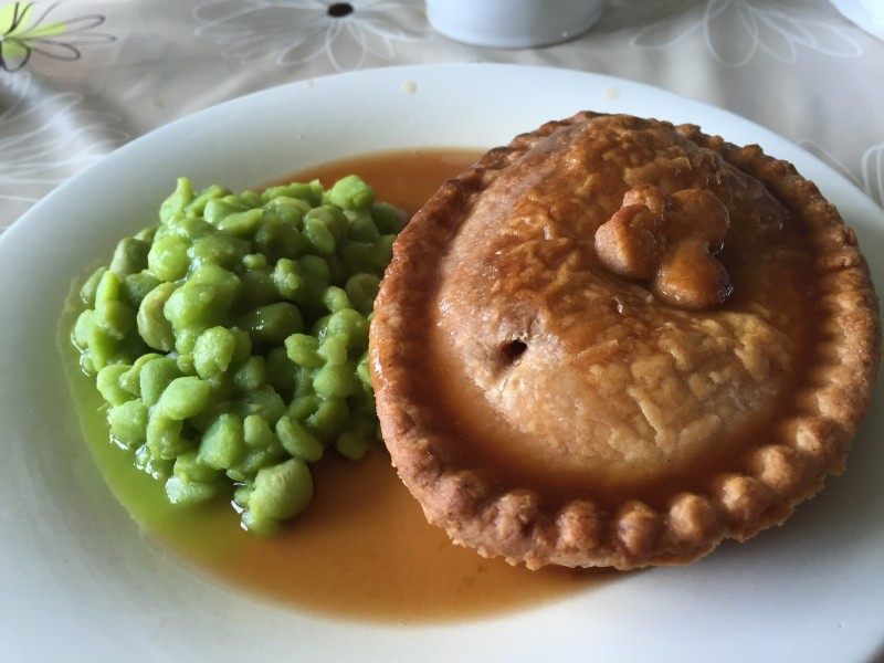 Pie and gravy at Teversal Visitor Centre