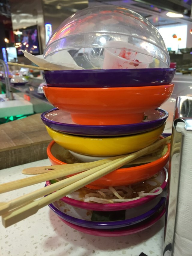 Empty plates at Yo Sushi