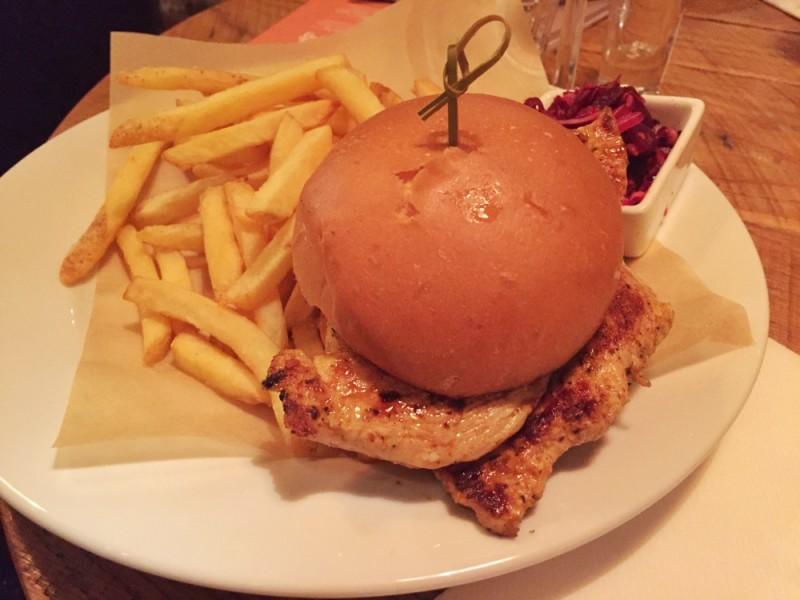 Blackened chicken burger at Revolution