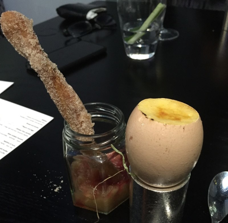 Burnt English egg custard surprise at Purnells, Birmingham