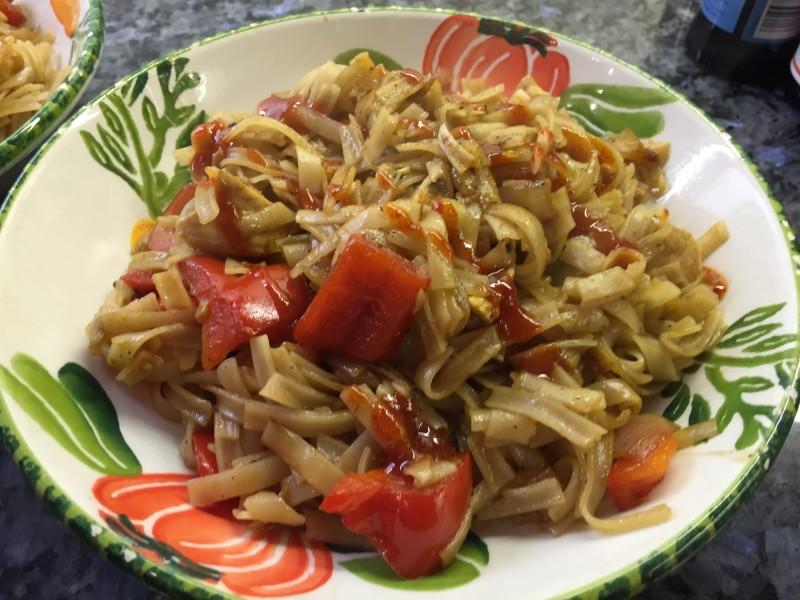 Spirited chicken noodles