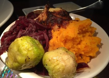 Christmas dinner vegetables at the Stag at Offchurch